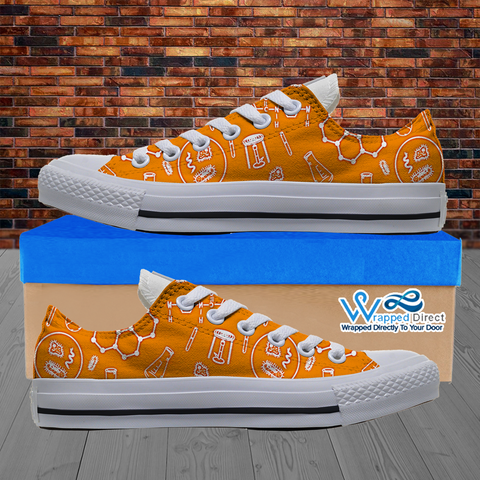 Mens Low Top Science Canvas Sneakers In Orange/White