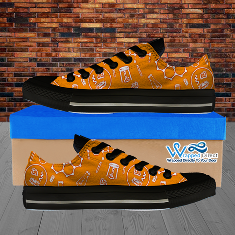 Womens Low Top Science Canvas Sneakers In Orange/Black