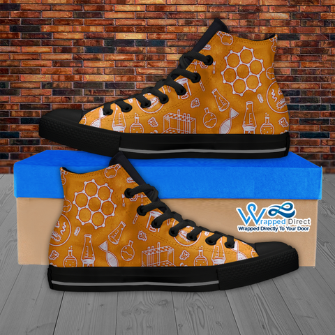 Womens High Top Science Canvas Sneakers In Orange/Black