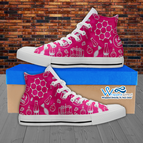 Womens High Top Science Canvas Sneakers In Pink/White