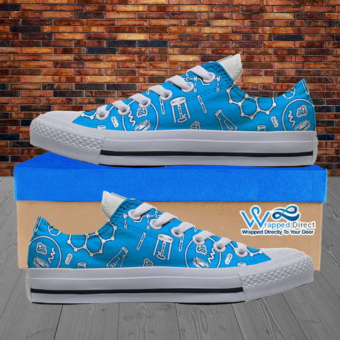 Mens Low Top Science Canvas Sneakers In Blue/White