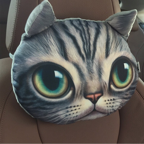 3D Printed Cat Car Headrest Pillows - Wrapped Direct