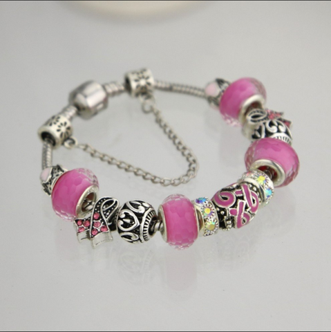 Breast Cancer Awareness Ribbon Charm Bracelet