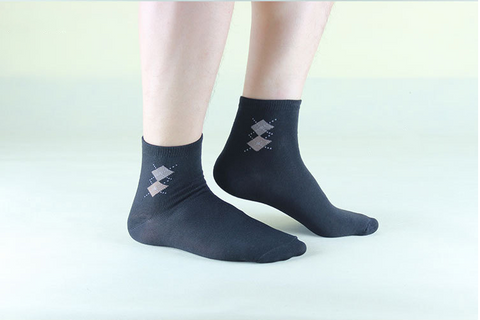 5 Pack Men's High Quality Rhombus Design Cotton Socks