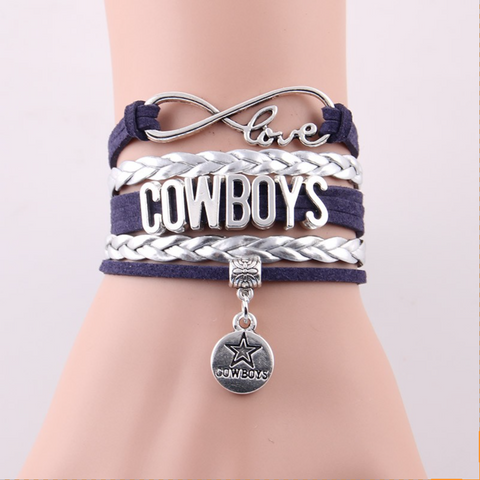 New Infinity Leather-Braided NFL Dallas Cowboys Bracelet