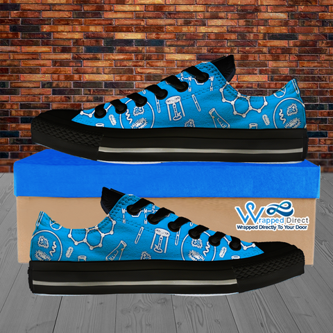 Womens Low Top Science Canvas Sneakers In Blue/Black