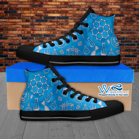 Mens High Top Science Canvas Sneakers In Blue/Black