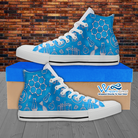 Womens High Top Science Canvas Sneakers In Blue/White