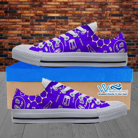Womens Low Top Science Canvas Sneakers In Purple/White