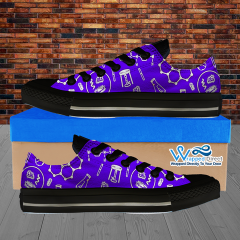 Womens Low Top Science Canvas Sneakers In Purple/Black