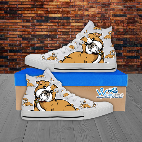 Bulldog Lover - Men's Hi Top White Canvas Shoes