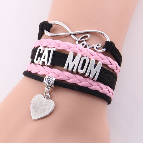 New Infinity Leather-Braided Love Bracelet 'Cat Mom'