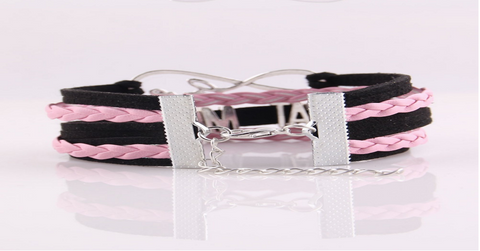 New Infinity Leather-Braided Love Bracelet 'Dog Mom' - Wrapped Direct