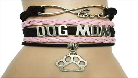 New Infinity Leather-Braided Love Bracelet 'Dog Mom'
