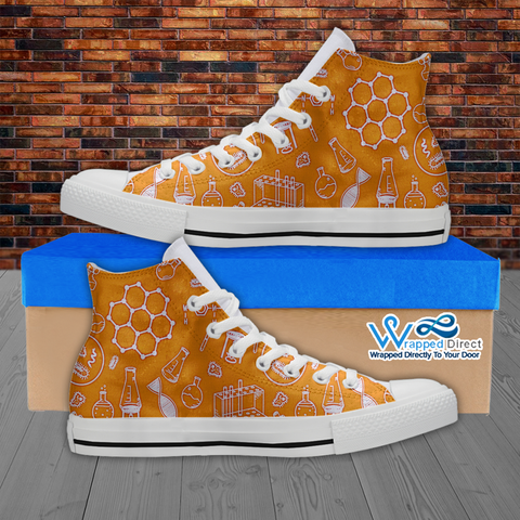 Mens High Top Science Canvas Sneakers In Orange/White