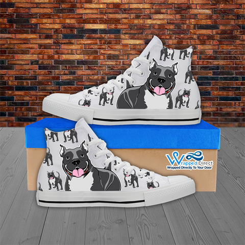 Pitbull Lover - Women's Hi Top White Canvas Shoes