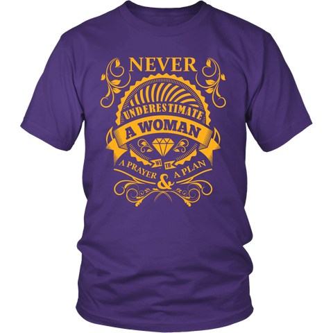 Never Underestimate A Woman With A Prayer & A Plan Tee Shirt - Wrapped Direct