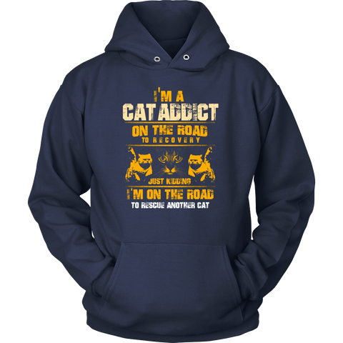"""I'm A Cat Addict"" Custom Printed Shirt"