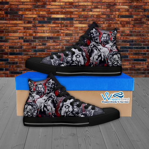 Zombie Lover - Custom Printed Men's Hi Top BLACK Canvas Shoes