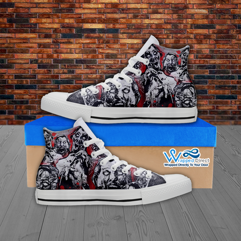 Zombie Lover - Custom Printed Men's Hi Top White Canvas Shoes
