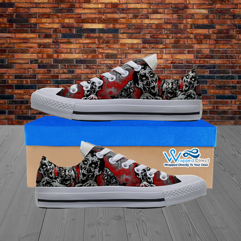 Zombie Lover - Custom Printed Women's Low Top White Canvas Shoes