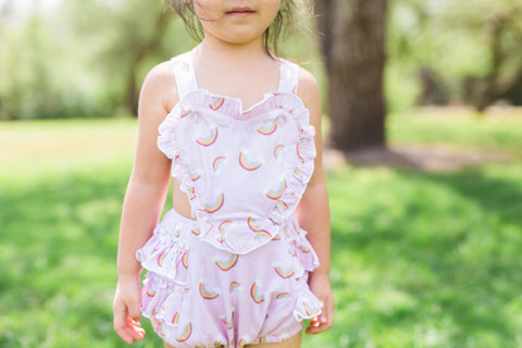 Kailee Rainbow Heart Romper in Prailine Pink by Paush