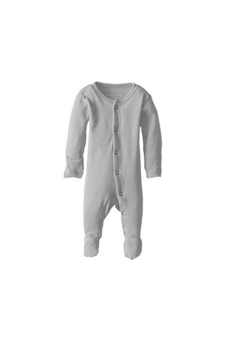Brett Light Gray Organic Footed Overall by L'ovedbaby