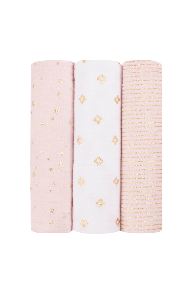 Carey Metallic Primrose 3-Pack Classic Swaddles by Aden + Anais