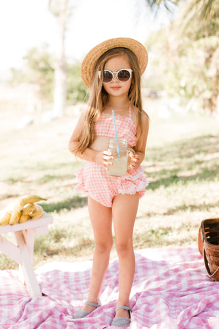 Emily Pink Gingham Bikini Playsuit by Paush