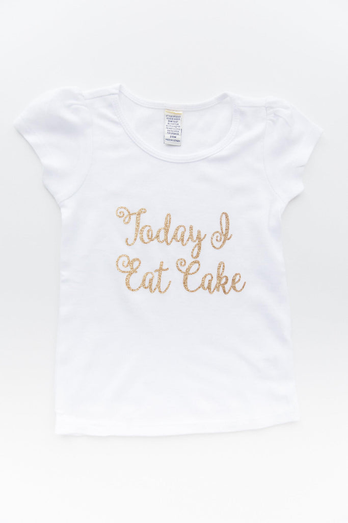 Girl Toddler Short Sleeve White Birthday T Shirt with text cursive