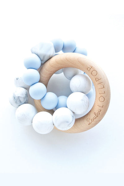 Alexander Silicone and Trinity Wood Teether Baby Blue