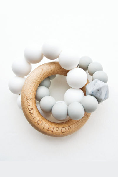 Alexander Silicone and Trinity Wood Teether Cool Grey