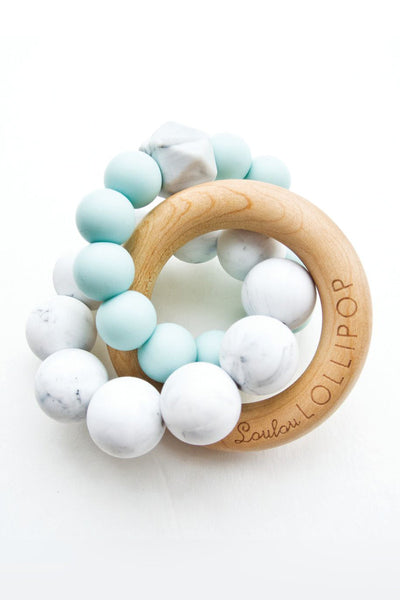 Alexander Silicone and Trinity Wood Teether Robin's Egg Blue