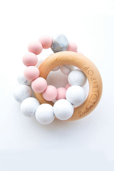 Alexander Silicone and Trinity Wood Teether Tea Rose
