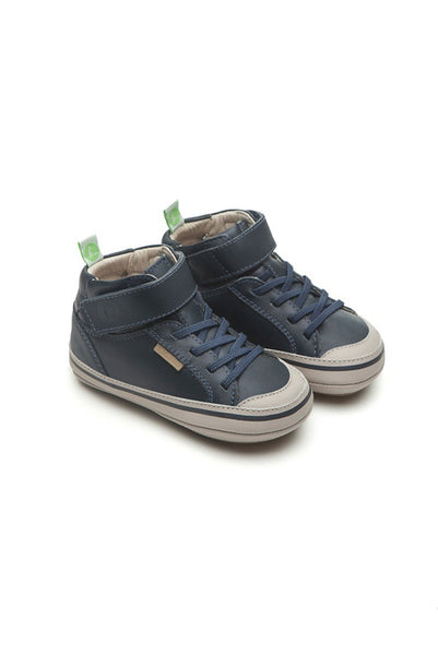 Alley Navy Leather High Top Shoes