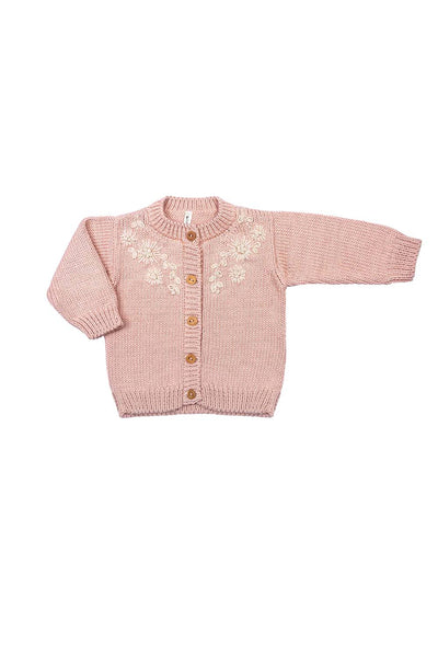 Amelia Embroidered Floral Cardigan - Blush