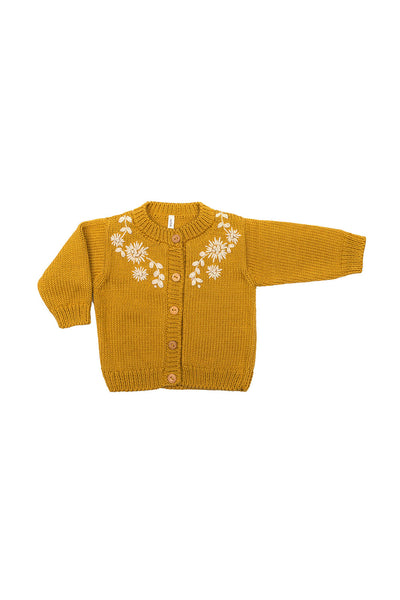 Amelia Embroidered Floral Cardigan - Mustard