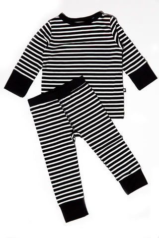 Bailey Big Kid PJs Black/White Stripe by Sweet Bamboo