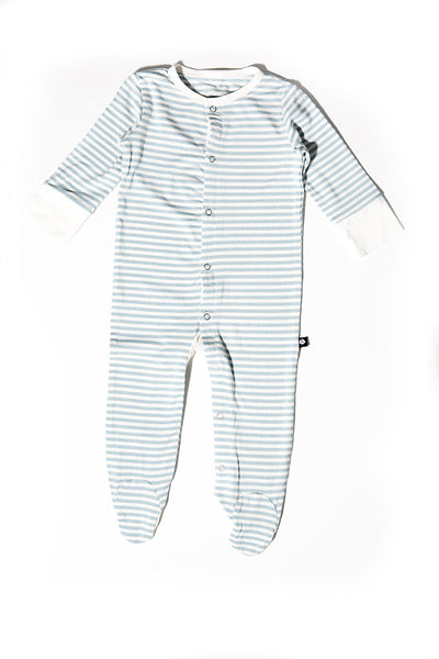 Bailey Baby Footie Bashful Blue Mini Stripe by Sweet Bamboo