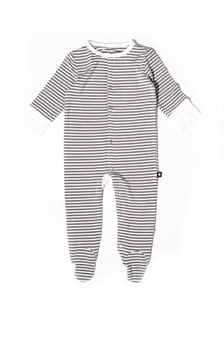 Bailey Baby Footie Glacial Grey Mini Stripe by Sweet Bamboo