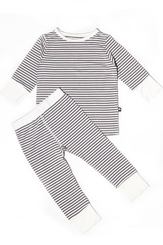 Bailey Big Kid PJs Glacial Grey Mini Stripe by Sweet Bamboo
