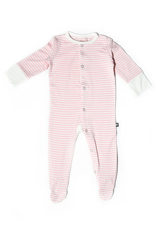 Bailey Baby Footie Perfect Pink Mini Stripe by Sweet Bamboo