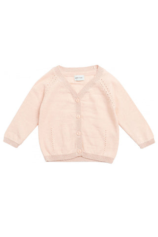 Betsey Pale Dogwood Rose Cardigan by MINI A TURE