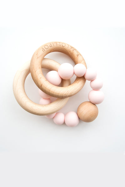 Lucas Bubble Silicone & Wood Teether - Rose Quartz