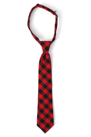 Chris Red and Black Plaid Necktie