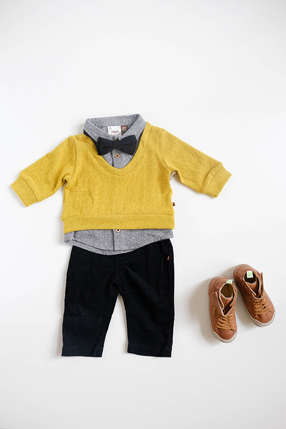 Joe Mustard Yellow Sweater with Tie and Pant Set