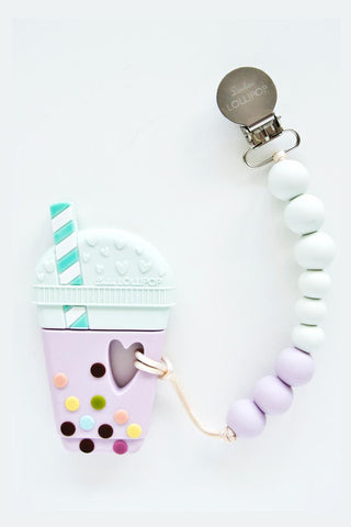 Everly Bubble Tea Teether with Holder Lilac/Mint
