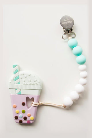 Everly Bubble Tea Teether with Holder Mint