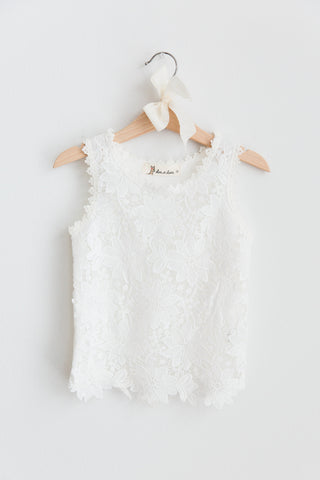 Grace Flower Lace Tank with Ribbed Back Contrast
