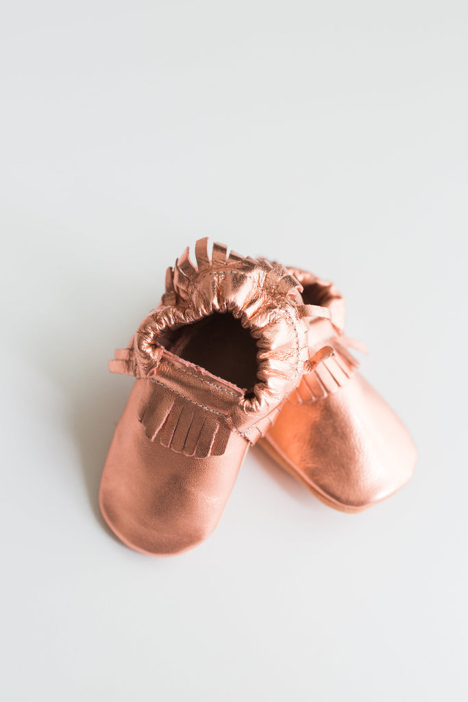 Sally Metallic Rose Gold Leather Booties